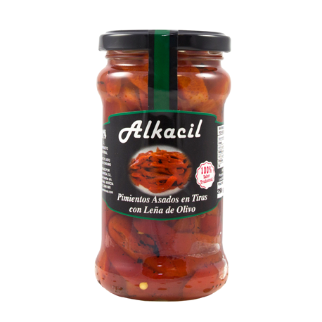 ALKACIL Roasted Peppers in Strips with Olive Wood Jar with 290 net grams - Conservalia