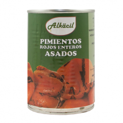 ALKACIL Roasted Whole Red Peppers Carton with 12 Cans of 390 net grams - Conservalia