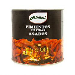 ALKACIL Peppers in Strips Roasted with Olive Wood Carton with 3 Cans of 2.500 net grams - Conservalia