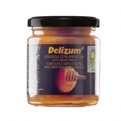 DELIZUM Organic Apricot Jam with Agave Syrup Jar with 270 net grams