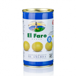 EL FARO Olives Stuffed with Anchovy Can with 350 net grams