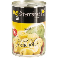 MEDITERRANEO Artichoke Hearts in Brine 14/16 count Tray with 12 Cans of 390 net grams - Conservalia