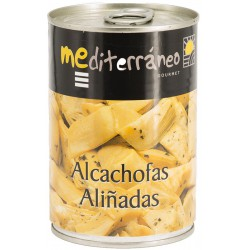 MEDITERRANEO Marinated Quartered Artichoke Hearts in Brine One Pallet with 144 Trays with 12 Cans of 420 net grams - Conservalia