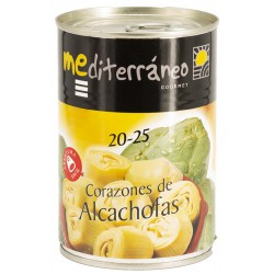 MEDITERRANEO Artichoke Hearts in Brine 20/25 count One Pallet with 144 Trays with 12 Cans of 390 net grams - Conservalia
